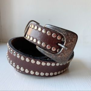 Vintage 30 Studded Brown Leather Belt Western Boho